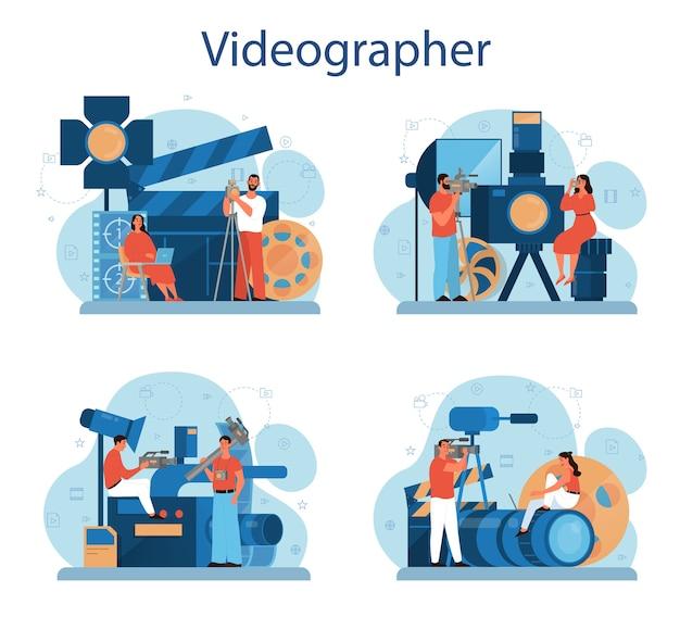 Zestaw Koncepcji Produkcji Wideo Lub Kamerzysty Premium Wektorów