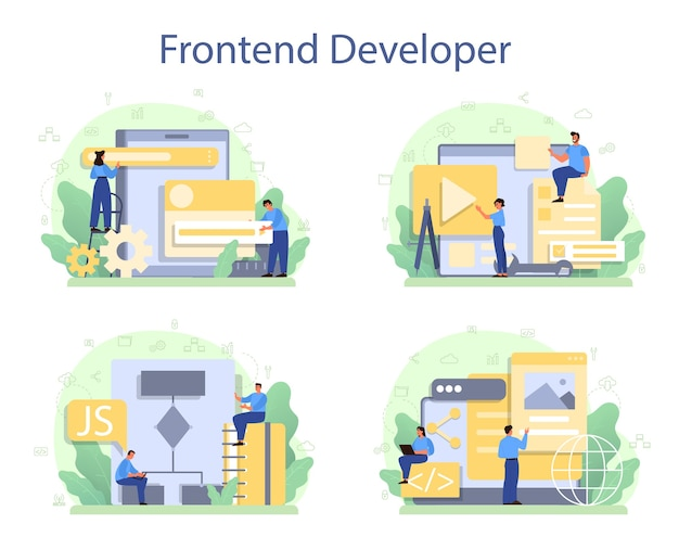 Zestaw Koncepcji Programisty Frontendu. Poprawa Wyglądu Interfejsu Strony Internetowej. Premium Wektorów