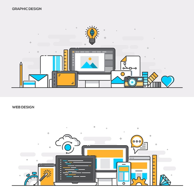 Zestaw Koncepcji Projektowych Banerów Płaska Linia Kolor Do Projektowania Graficznego I Projektowania Stron Internetowych. Koncepcje Baneru Internetowego I Materiałów Drukowanych. Ilustracji Wektorowych Premium Wektorów