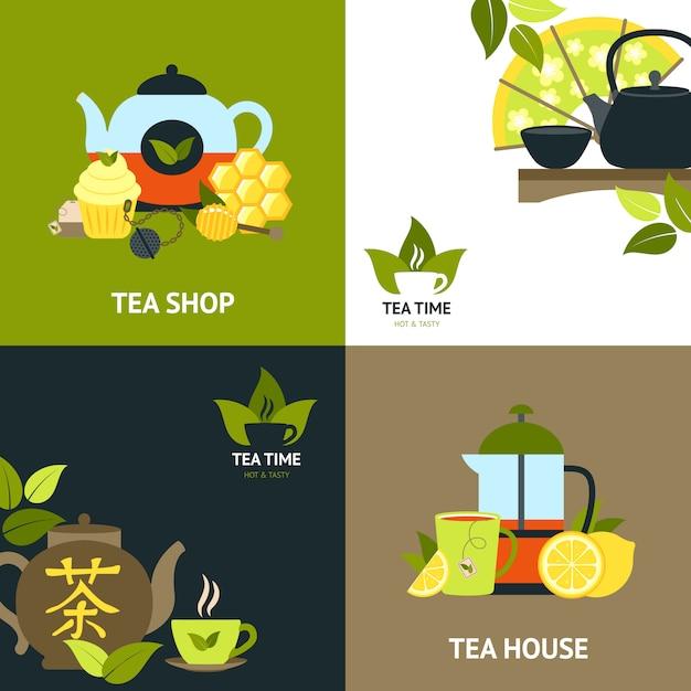 Zestaw Koncepcji Projektu Herbaty Darmowych Wektorów
