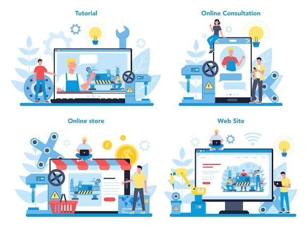 Zestaw Koncepcji Usługi Online Lub Platformy Tokarki Lub Tokarki. Pracownik Fabryki Używający Tokarki Do Wykonywania Metalowych Detali. Obróbka Metali I Produkcja Przemysłowa. Premium Wektorów