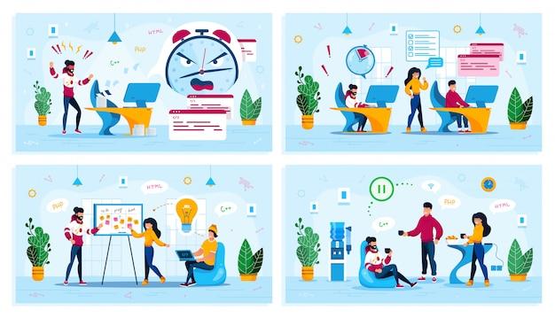 Zestaw Koncepcji życia Cyfrowego Pakietu Office Startup Premium Wektorów