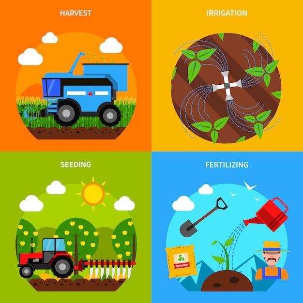 Zestaw Koncepcyjny Rolnictwa Darmowych Wektorów