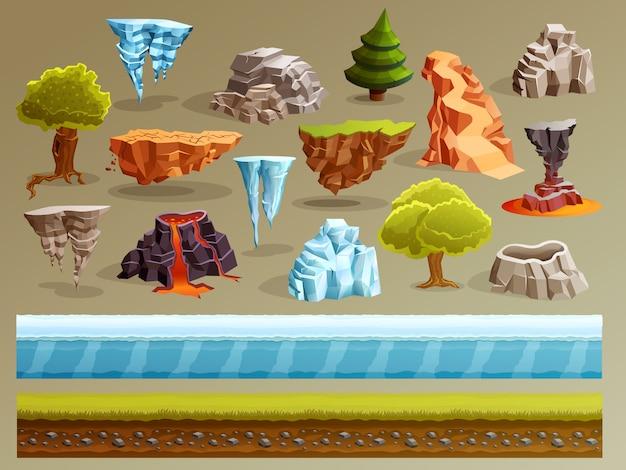 Zestaw konstruktorów krajobrazów gier Darmowych Wektorów