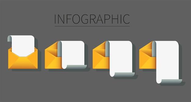 Zestaw Kopert Z Plansza Papieru Firmowego. Koncepcja Wiadomości E-mail Premium Wektorów