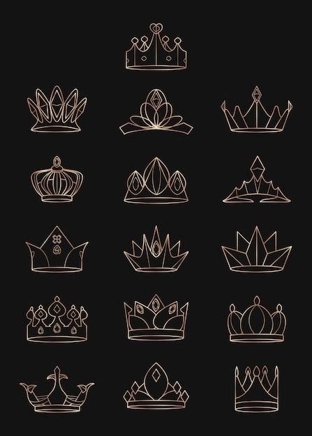 Zestaw Koron Królewskich Darmowych Wektorów