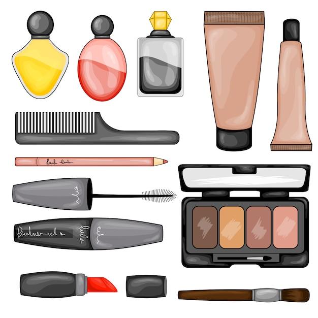 Zestaw Kosmetyków Do Makijażu Premium Wektorów