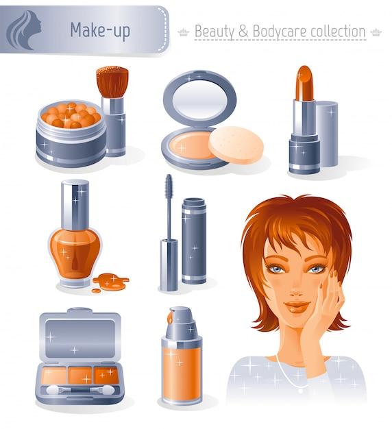 Zestaw kosmetyków i kosmetyków. uzupełnij kolekcję piękną rudowłosą dziewczyną. Premium Wektorów