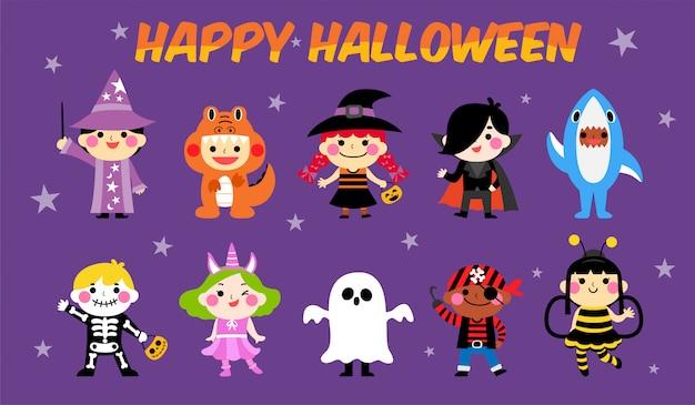 Zestaw kostiumów dla dzieci halloween Premium Wektorów