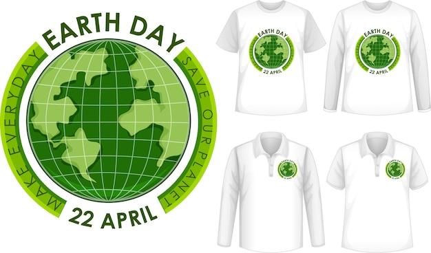Zestaw Koszul Z Ikoną Dzień Ziemi Darmowych Wektorów