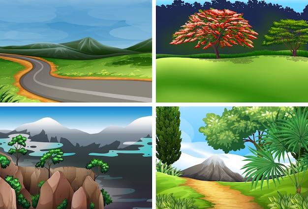 Zestaw krajobrazu przyrody Darmowych Wektorów