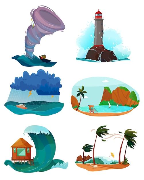Zestaw Krajobrazy Nad Morzem Darmowych Wektorów