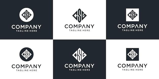 Zestaw Kreatywnych Abstrakcyjnych Monogramów List Inspiracji Logo Csg Premium Wektorów