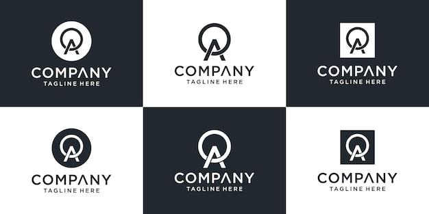 Zestaw Kreatywnych Abstrakcyjnych Monogramów List Inspiracji Projektowania Logo Oa Premium Wektorów