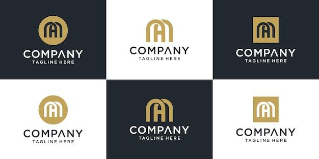 Zestaw Kreatywnych Abstrakcyjnych Monogramów Litera Ma Inspirację Do Projektowania Logo Premium Wektorów