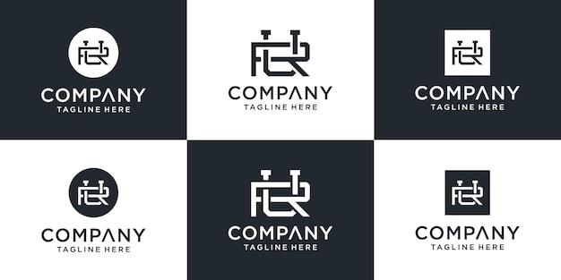 Zestaw Kreatywnych Abstrakcyjnych Monogramów Litera Ru Lub Inspiracji Do Projektowania Logo Ur Premium Wektorów