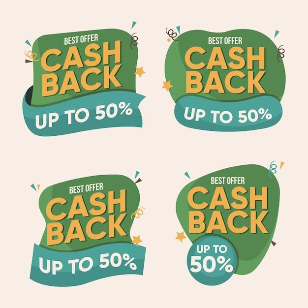 Zestaw Kreatywnych Etykiet Cashback Darmowych Wektorów