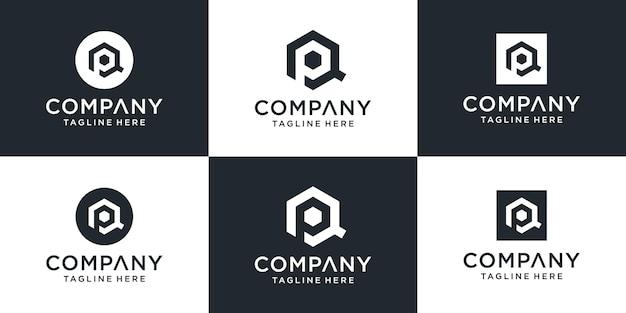 Zestaw Kreatywnych Inspiracji Do Projektowania Logo Qp List Monogram Premium Wektorów