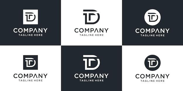Zestaw Kreatywnych Inspiracji Projektowych Logo Monogram List Dt Premium Wektorów