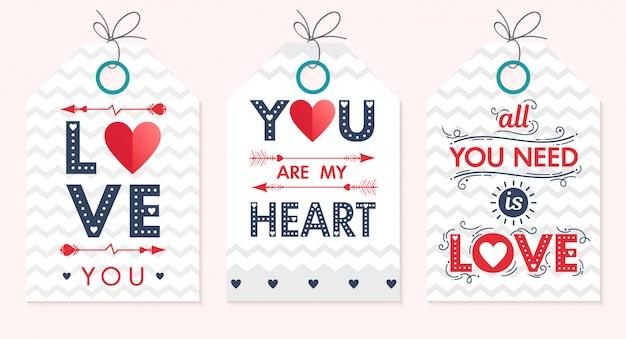 Zestaw Kreatywnych Kart Walentynki. Ręcznie Rysowane Napis Z Serca, Strzałki I Tła Zygzak. Premium Wektorów