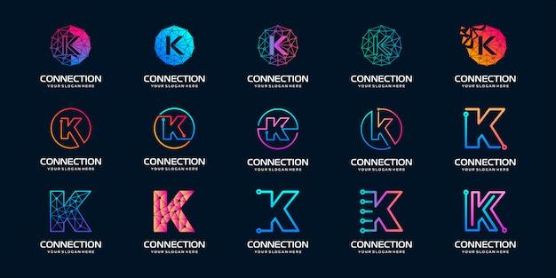 Zestaw Kreatywnych Liter K Logo Nowoczesnej Technologii Cyfrowej. Logo Może Być Używane Do Technologii, Technologii Cyfrowej, łączności, Firmy Elektrycznej. Premium Wektorów