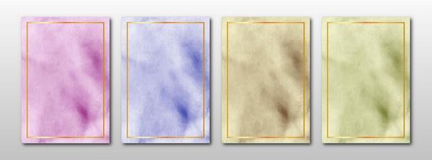 Zestaw Kreatywnych Minimalistycznych Ręcznie Malowanych Zaproszeń ślubnych Z Abstrakcyjną Akwarelą Premium Wektorów
