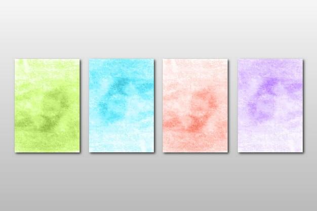 Zestaw Kreatywnych Minimalistycznych Ręcznie Malowanych Zaproszenia ślubne Z Abstrakcyjnym Wzorem Akwareli Premium Wektorów
