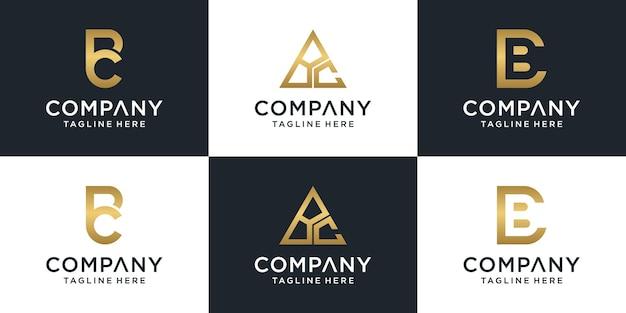 Zestaw Kreatywnych Monogram List Logo Szablon Bc. Premium Wektorów