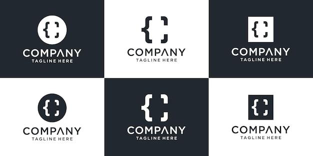 Zestaw Kreatywnych Monogram Litery C I Szablon Logo Kodu. Premium Wektorów