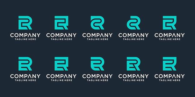 Zestaw Kreatywnych Monogramów List Cr And Er Logo Szablon. Logo Może Być Używane Dla Biznesu I Firmy Budowlanej. Premium Wektorów