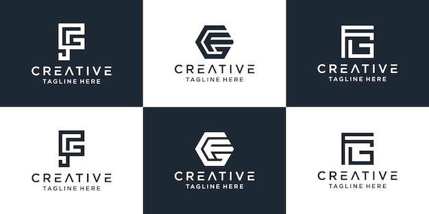 Zestaw Kreatywnych Monogramów List Fg Logo Szablon Dla Biznesu I Firmy Budowlanej Premium Wektorów