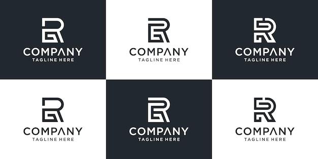 Zestaw Kreatywnych Monogramów List Rg Logo Abstrakcyjny Projekt Inspiracji. Premium Wektorów