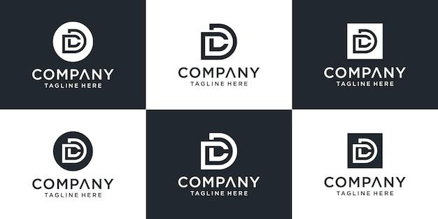 Zestaw Kreatywnych Monogramów List Szablon Logo Dc. Premium Wektorów
