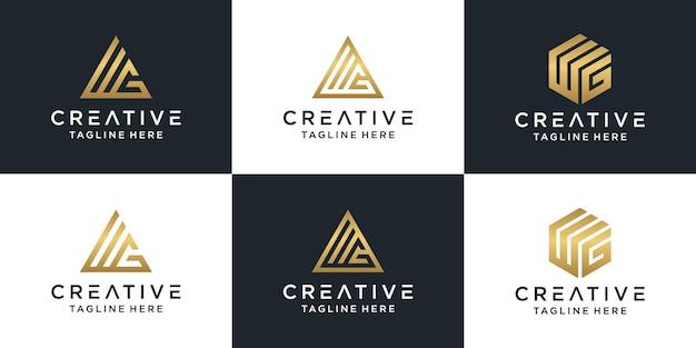 Zestaw Kreatywnych Monogramów List Wg Logo Złoty Szablon. Premium Wektorów