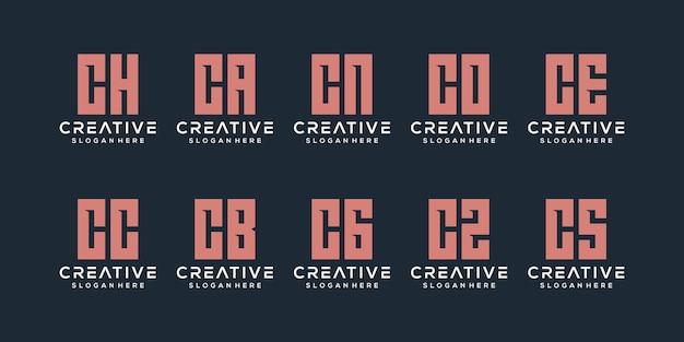Zestaw Kreatywnych Monogramów Litera C Logo Szablon Projektu. Logo Może Służyć Do Budowania Firmy. Premium Wektorów