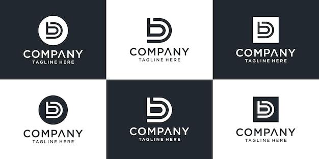 Zestaw Kreatywnych Monogramów Litera Db Logo Szablon. Logo Może Być Używane Dla Biznesu I Firmy Budowlanej. Premium Wektorów