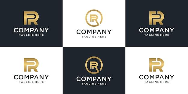 Zestaw Kreatywnych Monogramów Litera Fr Logo Szablon. Premium Wektorów