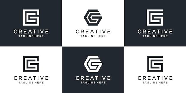 Zestaw Kreatywnych Monogramów Litera Gc Logo Szablonu. Logo Może Być Używane Dla Biznesu I Firmy Budowlanej. Premium Wektorów