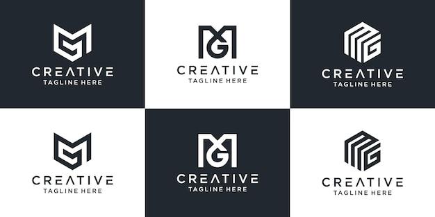 Zestaw Kreatywnych Monogramów Litera Mg Logo Abstrakcyjnego Projektu Inspiracji Premium Wektorów