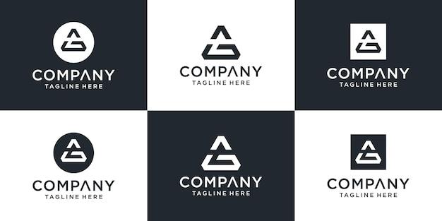 Zestaw Kreatywnych Monogramów Z Literą Ag Inspiracją Do Projektowania Logo Z Trójkątem Cooncept Premium Wektorów