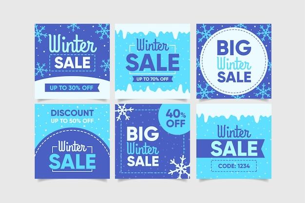 Zestaw Kreatywnych Postów Sprzedaży Zimowej Darmowych Wektorów