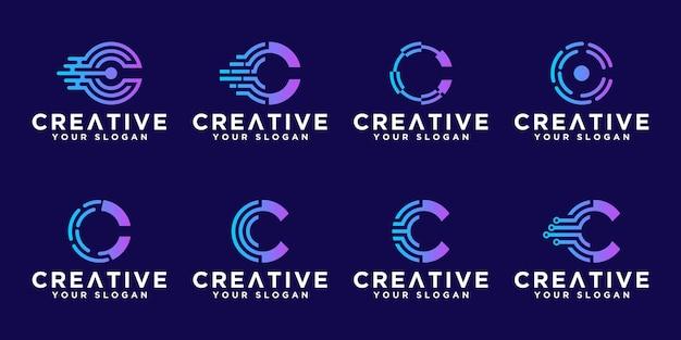 Zestaw Kreatywnych Streszczenie Monogram Litery C Projektowanie Logo Technologii Premium Wektorów