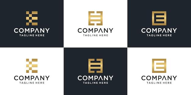 Zestaw Kreatywnych Streszczenie Monogram Litery E Logo Złoty Szablon. Premium Wektorów