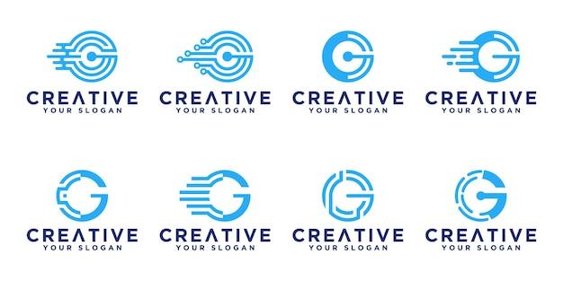 Zestaw Kreatywnych Streszczenie Monogram Litery G Technologii Projektowania Logo Premium Wektorów