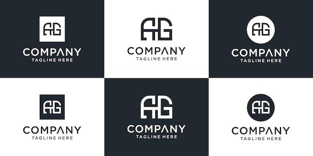 Zestaw Kreatywnych Szablonów Logo Monogram Ag. Logo Może Być Używane Dla Biznesu I Firmy Budowlanej. Premium Wektorów