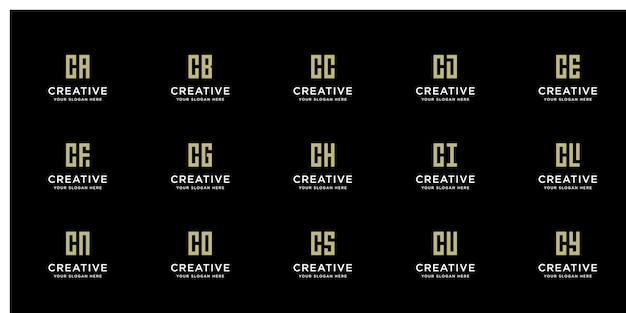 Zestaw Kreatywnych Złotych Logo Z Inicjałem C Premium Wektorów