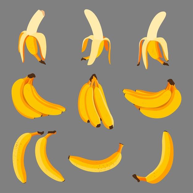 Zestaw Kreskówek Bananów Premium Wektorów
