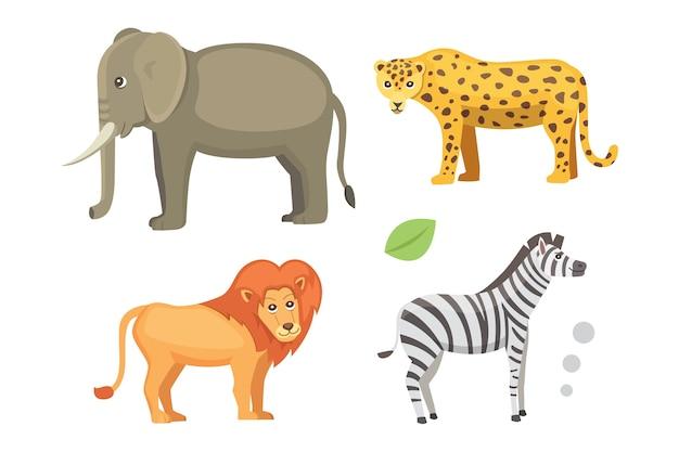 Zestaw Kreskówka Afrykańskich Zwierząt. Ilustracja Safari. Premium Wektorów