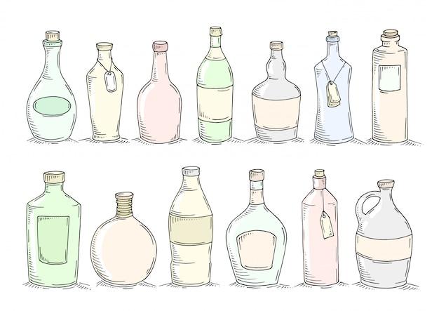 Zestaw Kreskówka Doodle Butelek. Premium Wektorów
