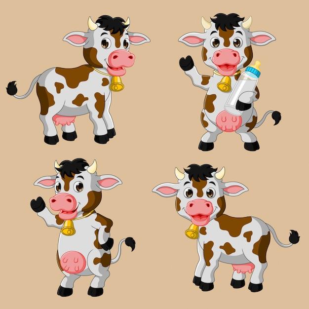 Zestaw Kreskówka Krowa ładny Premium Wektorów